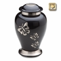 Butterfly Brushed Pewter Brass Cremation Urn