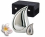 Bright Silver Teardrop Cremation Urn