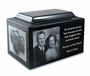 Black Granite Extra Large Cremation Urn Vault with Engraved Photo