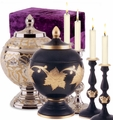 Memorial Sets with Urn and Candlesticks