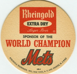 1969 New York Mets Rheingold Lager Beer Coaster