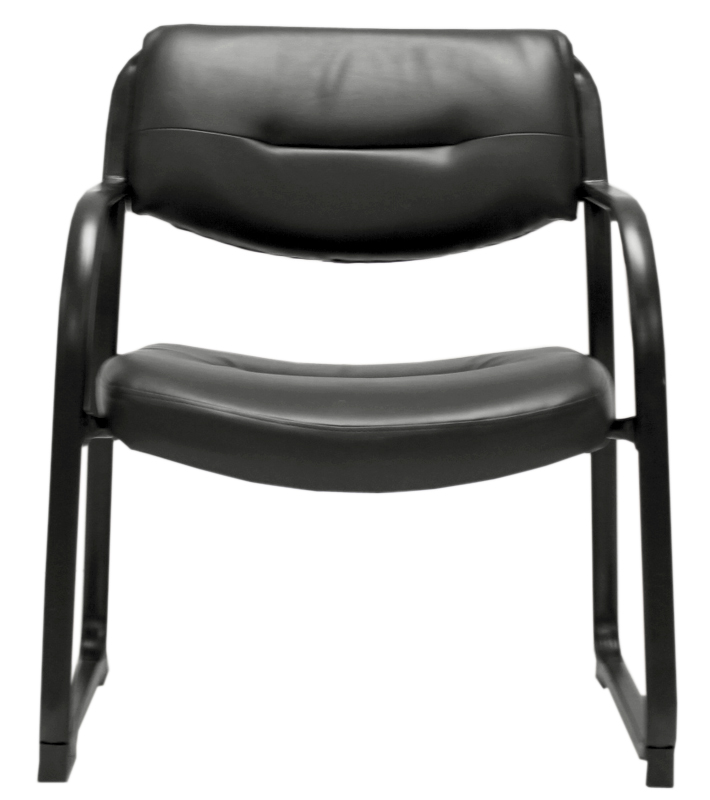 Capacity Extra Wide SteelWorks Black Leather Guest Chair ...