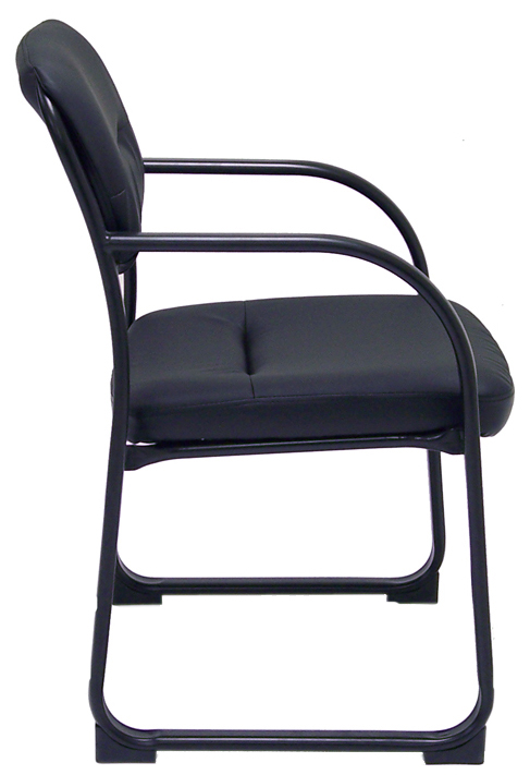 400 lbs  Capacity Extra Wide SteelWorks Black Leather Guest Chair