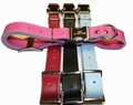 Engraved Buckle Leather Dog Collar adjusts 16 to 19 inches