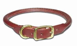 Round Latigo Leather Dog Collar 5/8 Inch Wide