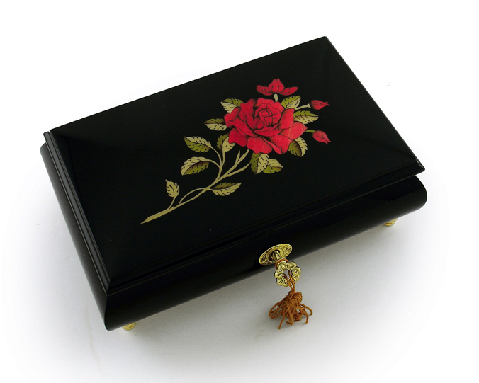 enchanting black lacquer single red rose with gold