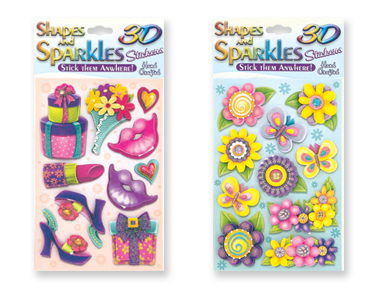 Shapes and Sparkles 3D Handcrafted Sticker Pack