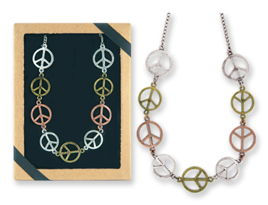Peace SIGN Tri-Tone Necklace Gift Boxed