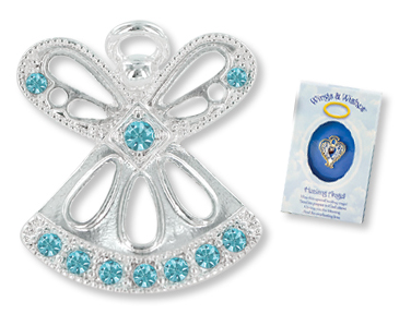 MARCH AQUAMARINE Birthstone Wings & Wishes Angel Tac Pin