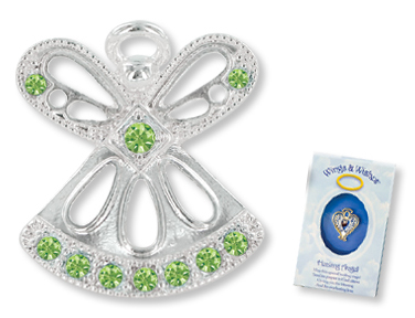 AUGUST PERIDOT Birthstone Wings & Wishes Angel Tac Pin