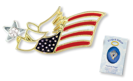 US FLAG PATRIOTIC Wings & Wishes Angel Tac Pin