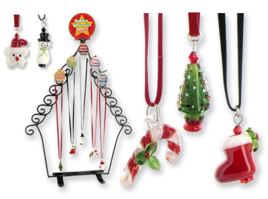 HOLIDAY Whimsies BLOWN ART GLASS Christmas Necklaces