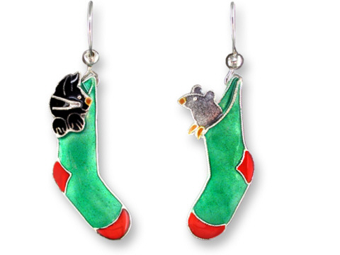 SOLD OUT - CHRISTMAS Pals Cat & Mouse In Stockings Earrings *RETIRED*