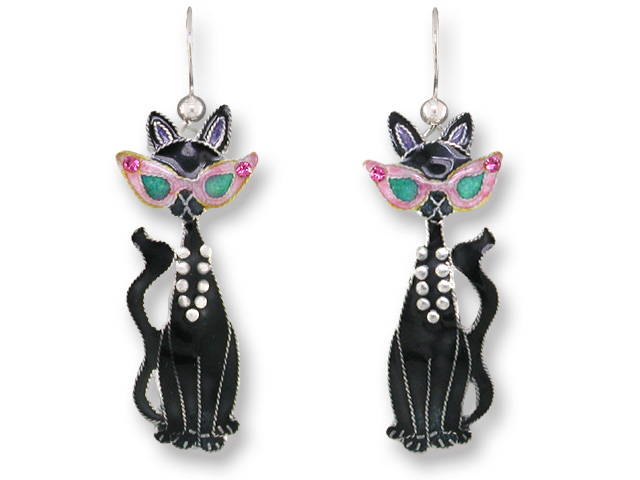 SOLD OUT - Glamour Puss Black Cat w/ SUNGLASSES Earrings by Zarah *RETIRED*