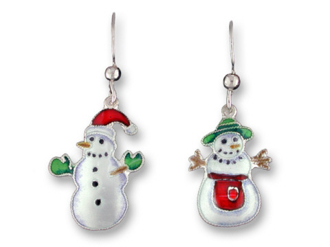 SOLD OUT - Mr. and Mrs. Snow Snowmen Sterling Silver & Enamel Earrings *RETIRED*