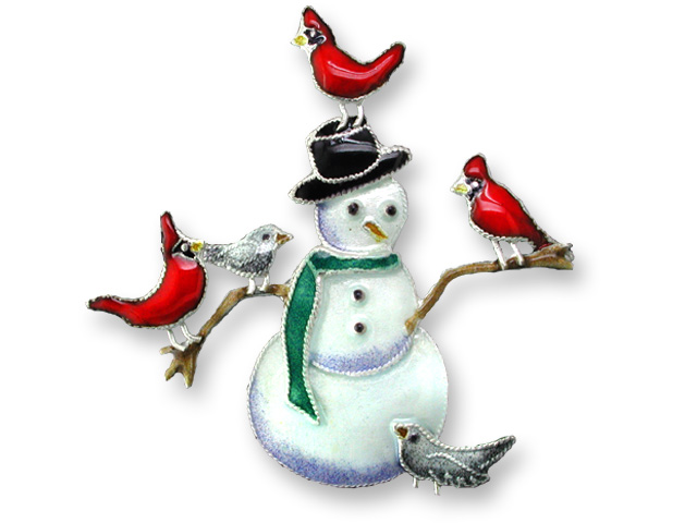 SOLD OUT - Snowman w/ Red Cardinals Sterling Silver & Enamel Pin *RETIRED*