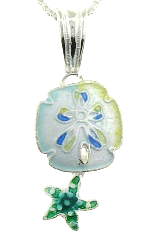 SOLD OUT - Sandollar & Starfish PENDANT w/ Necklace by Zarah *RETIRED*