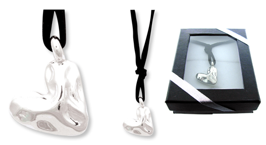 HAMMERED SILVER HEART Pendant on Suede Necklace GIFT BOXED!