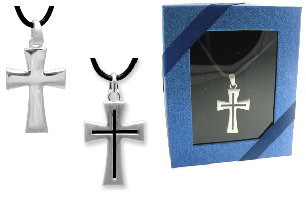 Men's REVERSIBLE CROSS PENDANT on LEATHER Cord - Gift Boxed