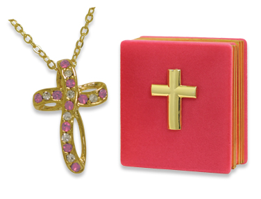 OCTOBER BIRTHSTONE Cross Necklace In Bible Shaped Gift Box!