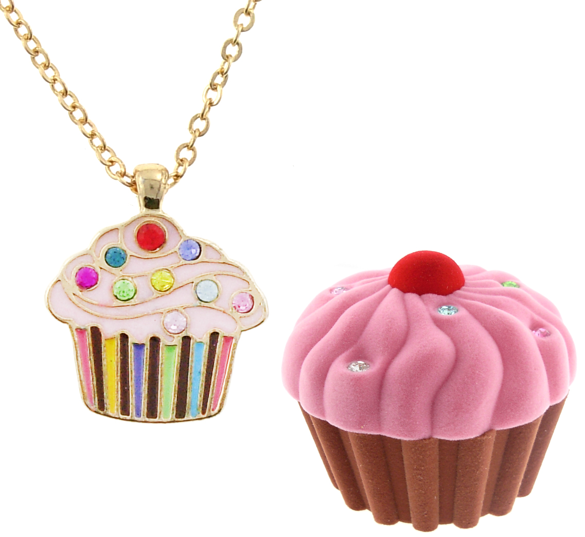 Crystal & Enamel Cupcake Necklace in Figural Gift Box