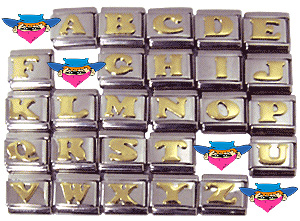 Gold LETTER Italian Charms