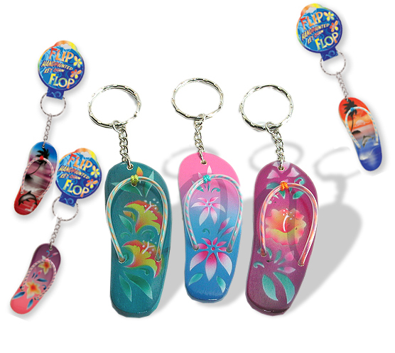 FLIP FLOP HAND PAINTED KEYCHAINS! Tons of styles!