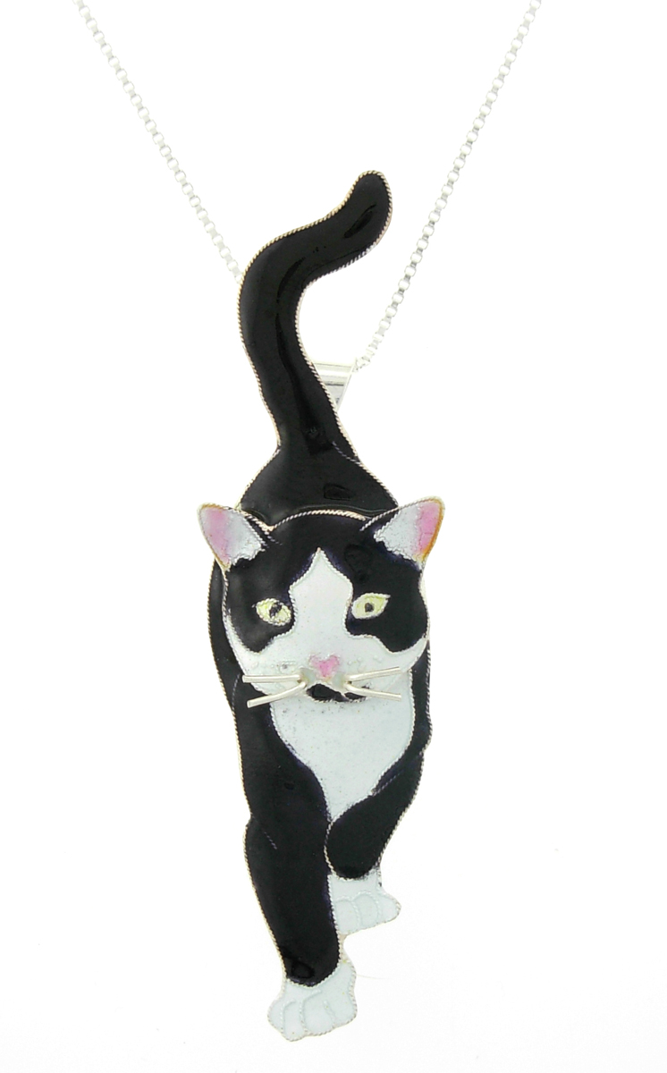 SOLD OUT - SOCKS The Cat Pendant & Pin w/ Necklace by Zarah *RETIRED*