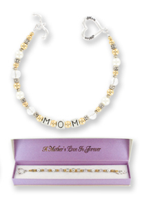 Mom Always PEARL Bracelet w/ Heart Toggle & Square MOM Links