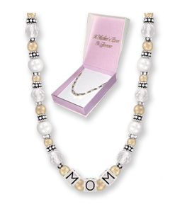Mom Always Crystal & PEARL Two Toned Necklace