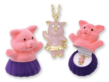 PIG Crystal Necklace in Piggy In a DRESS Gift Box!