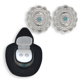 Western Crystal CONCH w/ AQUA FLOWER EARRINGS in Black Cowboy HAT Gift Box!
