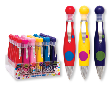Jot N Dot WIDE GRIP POLKA DOT Pens! 6 colors!