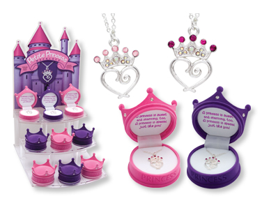Pink Petite Princess Crown Necklace in Figural Gift Box