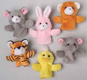 "12pc Plush 3.5"" Animal Finger Puppets"