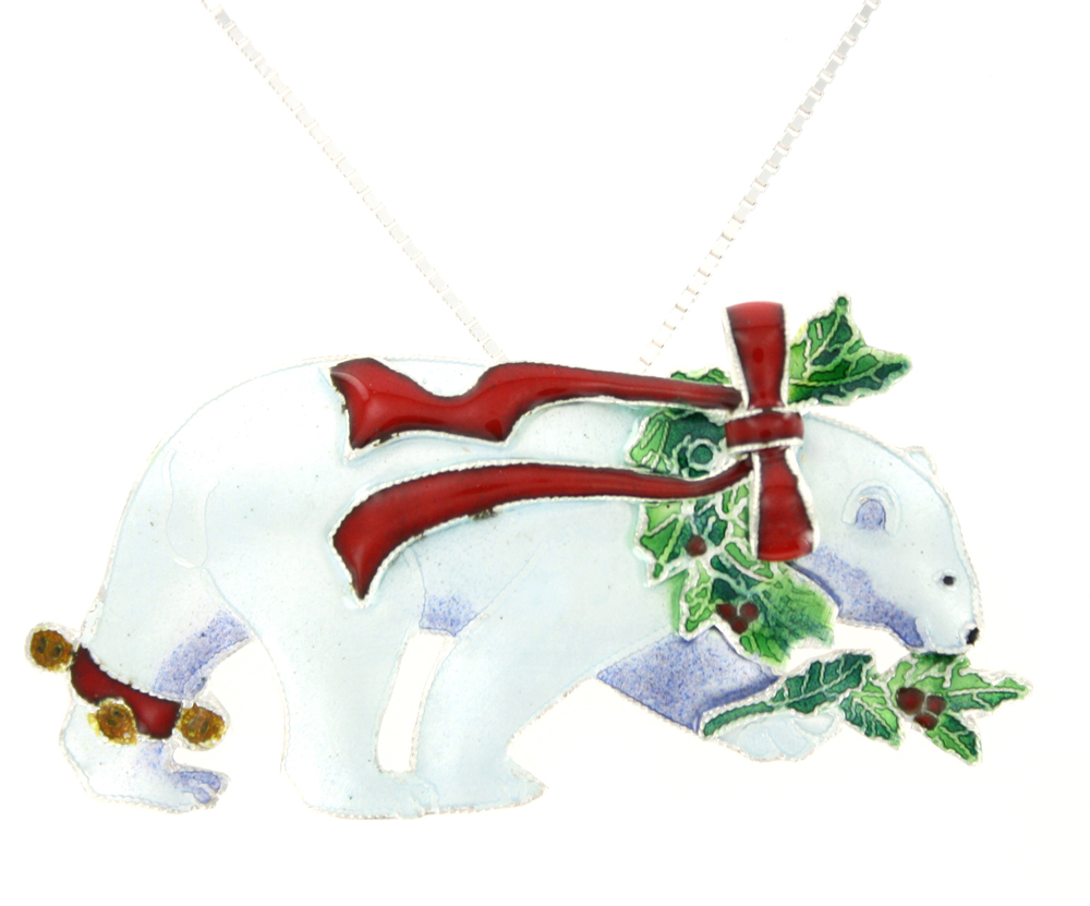 SOLD OUT - CHRISTMAS Polar Bear Pin & Pendant Sterling Silver & Enamel Necklace by Zarah