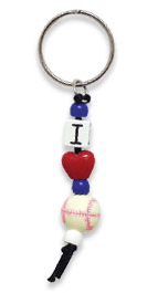 I LOVE BASEBALL Beaded Key Chain