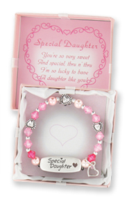 Special Daughter Children's Stretch Charm Bracelet w/ Gift Box