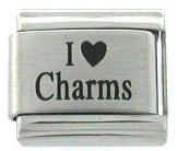 Laser Etched I LOVE (heart) CHARMS Italian Charm