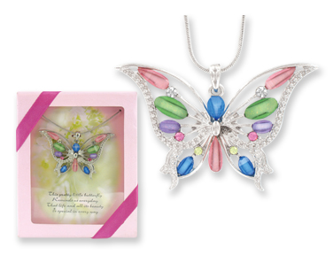 Magnificent Monarch Butterfly Pendant Necklace w/ Gift Box