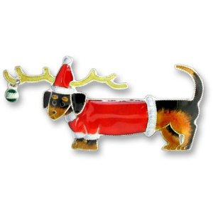 SOLD OUT - Christmas Dachshund Dog Silver and Enamel Pin  *RETIRED*