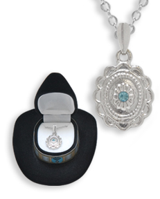 Western Crystal CONCH w/ AQUA FLOWER NECKLACE in Cowboy Hat Gift Box!