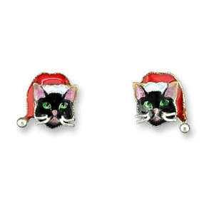 Holiday Black Cat w/ Santa Hat Sterling Silver & Enamel Earrings  *RETIRED*