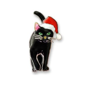 SOLD OUT - Holiday Black Cat Silver and Enamel Pin by Zarah  *RETIRED*