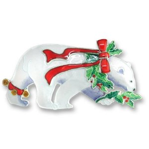 SOLD OUT - Christmas Polar Bear Sterling Silver and Enamel Pin by Zarah  *RETIRED*