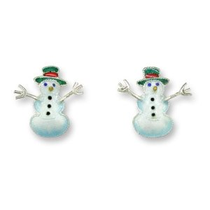 SOLD OUT - Christmas Snowman Silver and Enamel Earrings  *RETIRED*
