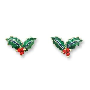 Christmas Holly Silver and Enamel Earrings  *RETIRED*
