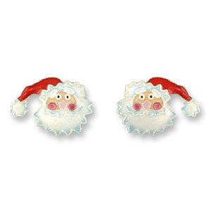 St. Nicholas Silver and Enamel Santa Earrings  *RETIRED*