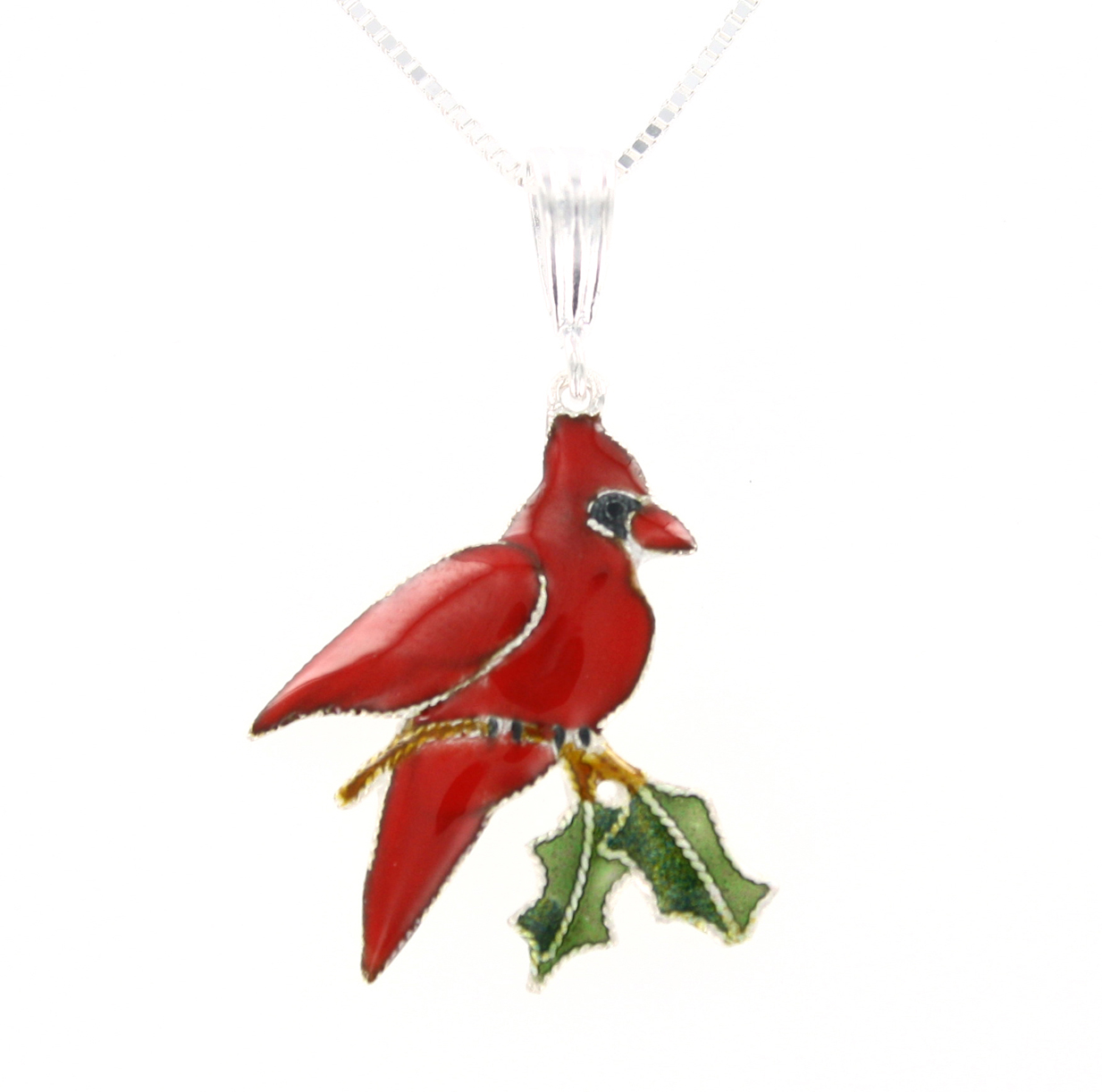 SOLD OUT - Red Cardinal STERLING SILVER & Enamel Pendant Necklace by Zarah *RETIRED*