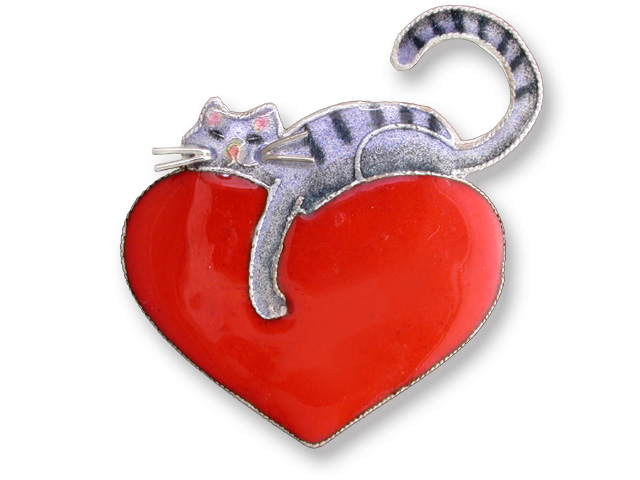SOLD OUT - Kitty Love STERLING SILVER & Enamel Pin *RETIRED*